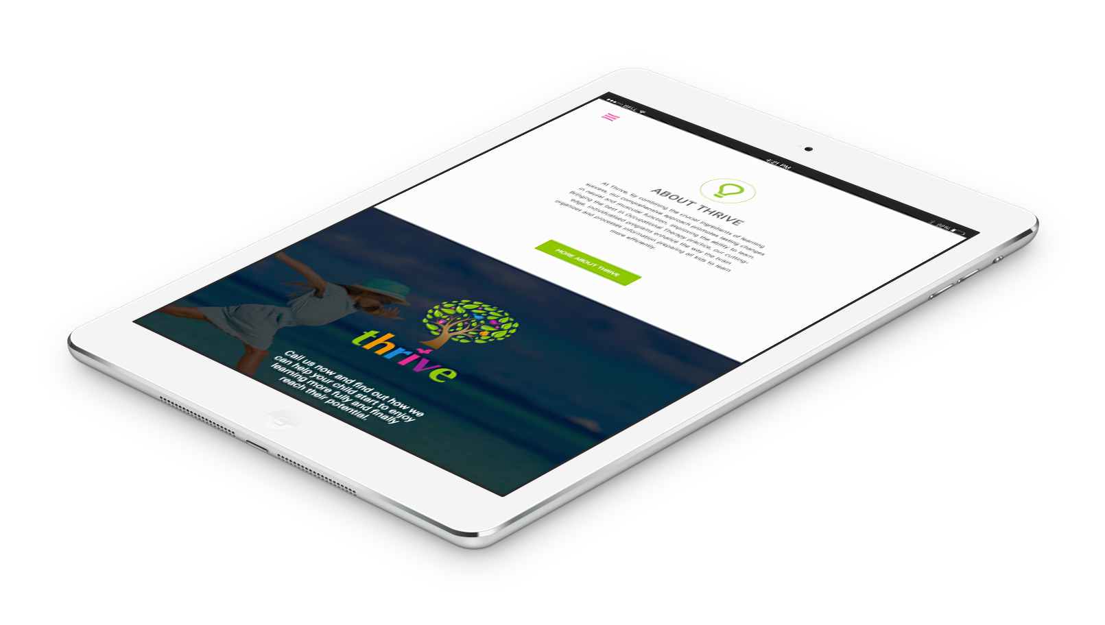 Portfolio item Thrive mobile responsive tablet homepage